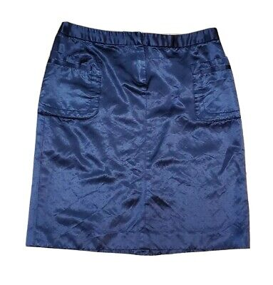 Hilfiger Navy Slate Blue Metallic Shiny Straight Pencil Above Knee Skirt 2 S