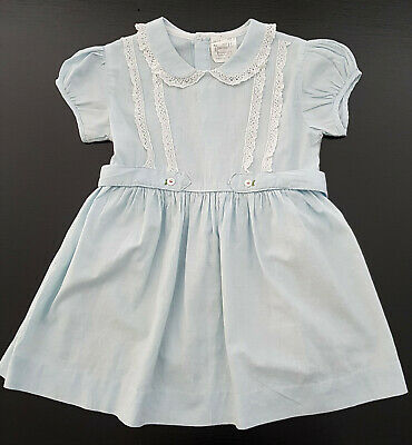 NANNETTE (USA) VINTAGE 1960's / '70's BABY / TODDLER'S DRESS, PALE BLUE - SIZE 2