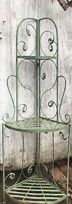 Vintage Wrought Iron Scrolled Corner Shelf Bakers Rack/Plant Stand