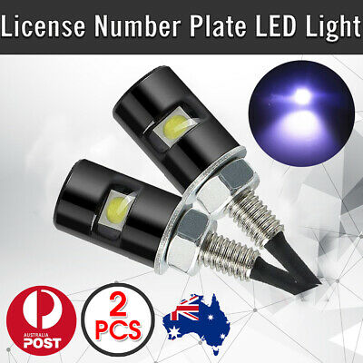 2 x LED License Number Plate Light Screw Bolt Bulbs SMD For Car Motorcycle WHITE