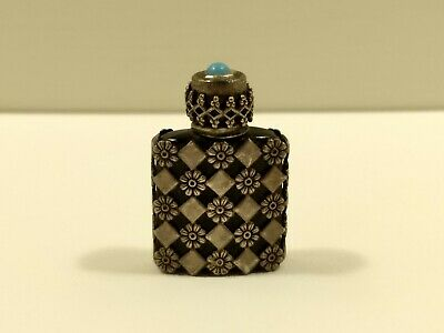 Vintage Antique Mini Sterling Silver Antique Perfume Bottle Tiny Made In France