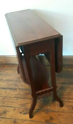Antique Edwardian Drop Leaf Table In Mahogany With Castors