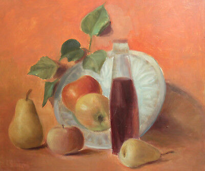 Vintage Oil Painting Still Life With Apples And Pears
