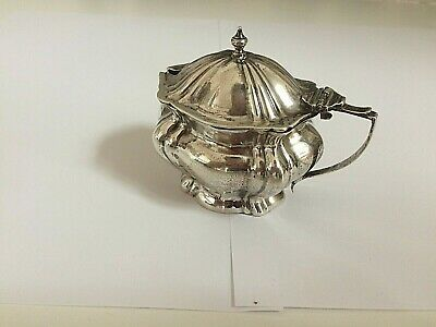 1950 Sterling Silver 92.5 hallmarked Mustard pot with Glass liner and hinged lid