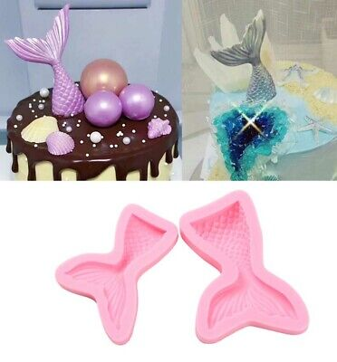Cake Mold 3D Mermaid Tail S L Scale Silicone Fondant Mould Decor Sugar Chocolate