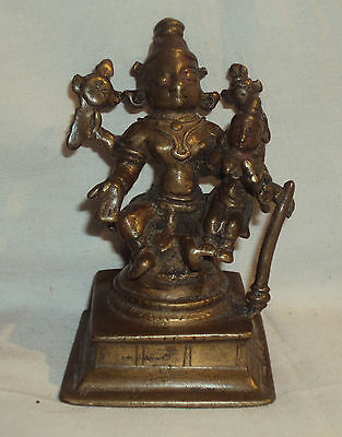 Antique Traditional Indian Ritual Bronze Statue Vishnu & Laxmi Rare