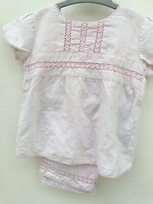 Girls Pink Linen Top and Trousers 2 Years