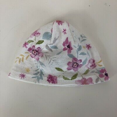 Mothercare Baby Girls Beige White Pink Green Floral Knitted Hat UK 0-3 Months