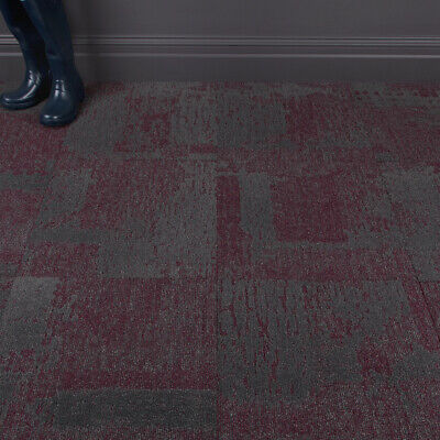 Quality Office Carpet Tiles Patch Pattern Red/Grey 3.76m2