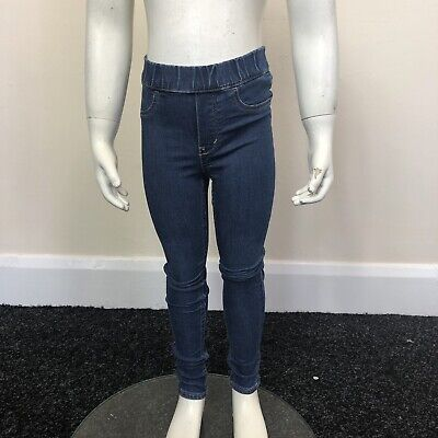 H&M Girls Blue Denim Stretch Skinny Jeggings Trousers Pants UK Age 3-4 Years