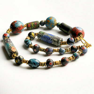 Antique Near Eastern Mosaic Glass Bead Necklace