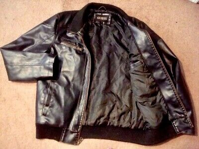 473e8b158 GUESS MEN'S GARMENT-DYED Quilted Faux-Leather Bomber Jacket Large ...