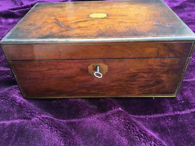 Superb Antique Brass Inlaid Mahogany Writing Slope With Inkwells & Secret Draw