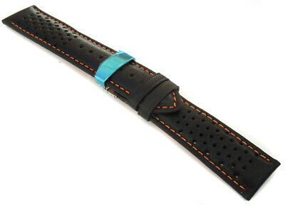 Orange Stitch Perforated 22mm Leather Watch strap Deployment Clasp For Tag Heuer