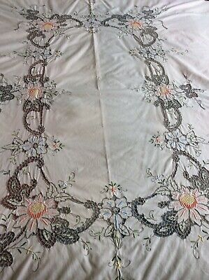 """Rectangular 83"""" x 65"""" Madeira Style Hand Embroidered  Cotton Table Cloth"""