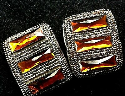 Vintage Antique Victorian French Cut Steel amber Glass Shoe Buckles