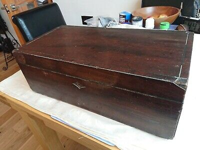 Very Large Antique Writing Box Mahogany And Brass