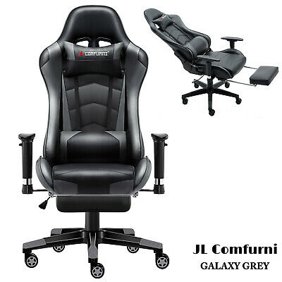 Executive Luxury Racing Gaming Office Chair Swivel Recliner Computer  PU Leather