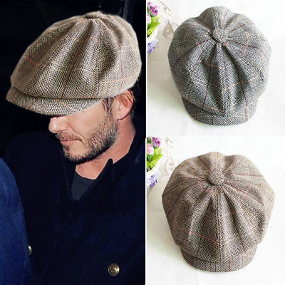 Mens Peaky Blinders Flat Cap Herringbone Newsboy Wool Baker boy Hat Gatsby Golf