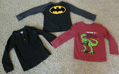 Boys Long Sleeve Shirts Lot Of 3 - Size 5T - Cat & Jack-Garanimals-Batman- Clean