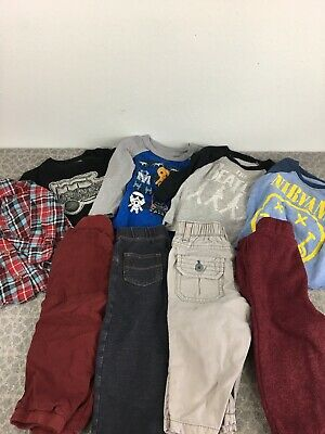 Toddler Boys Clothes Bundle Lot 9 Piece Pants Top Beatles Nirvana Star Wars Gap