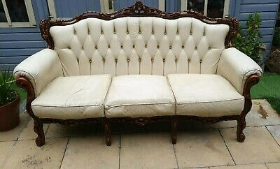 Terrific Leather Louis Ornate Rococo French Italian 3 Seater Sofa Creativecarmelina Interior Chair Design Creativecarmelinacom