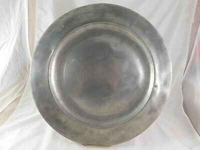 "Antique 18"" Irish Pewter Charger Charles Clarke Waterford 1790-1810"