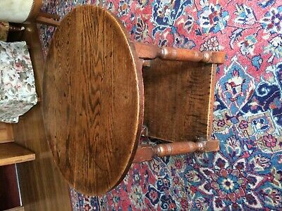 antique oak round coffee or occasional  table (53 cms ht)