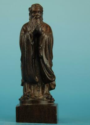 Chinese eaglewood hand-carved Confucius Buddha  Statue a02