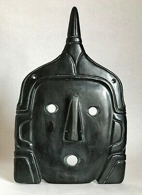 Large Pre-Columbian Carved Black Stone Mask