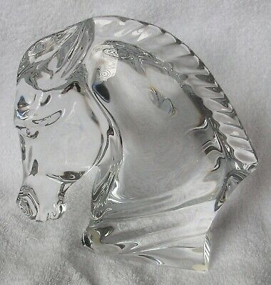 Rare Baccarat Crystal France Horse Head Bust Sculpture Signed Tauni de Lesseps
