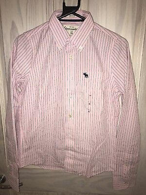 BNWT Abercrombie And Fitch Kids Boys XL Pinstripe Pink And Blue Shirt Brand New