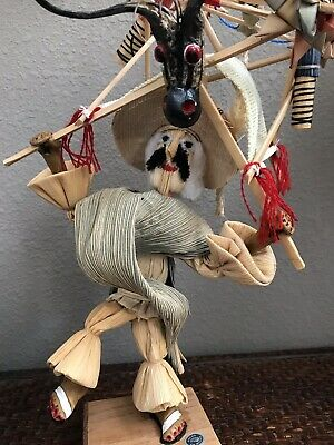Vintage Corn Husk Doll Mexico Folk Art Fire Cracker Sales Man Very Unique
