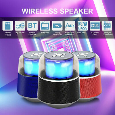 Portable HIFI Wireless BT Stereo Sound with LED Lights AUX TF FM for Smartphone