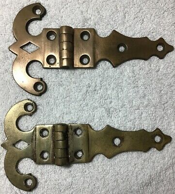 Early 1900's Very Large Antique Ornate Brass Hinges-7 1/2 in.long; 4 in. wide