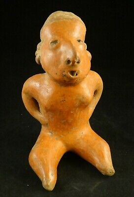 Pre-Columbian Nayarit-Chinesco Pottery Figure,red slip glaze.c.200 BC- 200 ACE