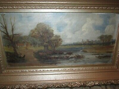 antique oil on canvas painting pond cows farm framed