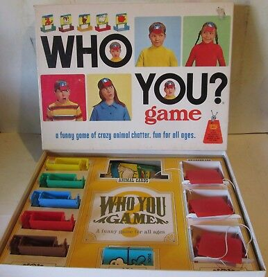 Who You? Crazy Animal Chatter 1968 Schaper Board Game Complete