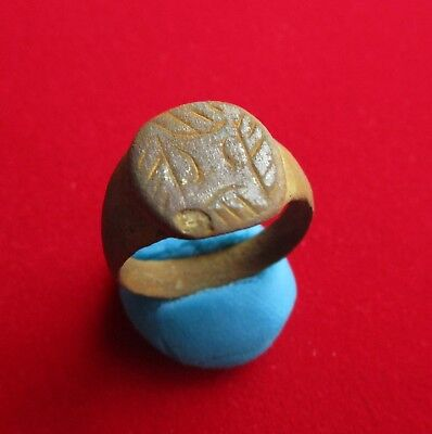Ancient ROMAN BRONZE  RING. trader weight marks engraved