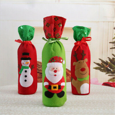 Santa Claus Red Wine Bottle Cover Bags Christmas Table Decoration Gift L