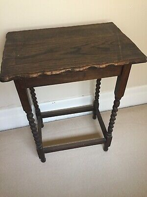 Period timber hall table with turned legs good condition 77cm tall 57x38cm lid
