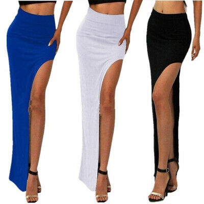 Sexy High Waist Asymmetrical High Low Side Slit Long Maxi Skirt Female Fashion