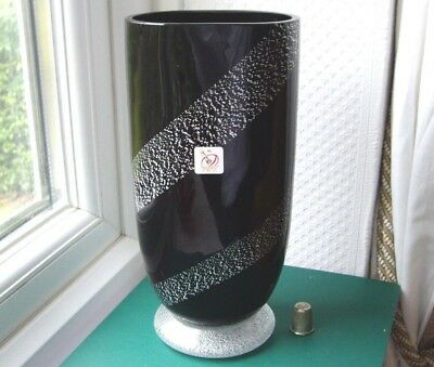 Signed & labelled Murano Gambaro e Tagliapietra black aventurine glass vase HUGE