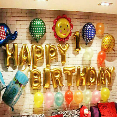 HAPPY BIRTHDAY Large Gold Self Inflating Balloon Banner Bunting Party Decor UK