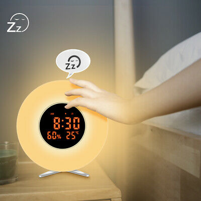 6 Lichtmodi LED Wecker Wake Up Light Touch Sunrise Weckalarm Temperaturanzeige