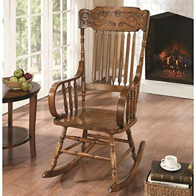Vintage Antique Traditional Rocking Chair Living Nursery Furniture Seat In Brown
