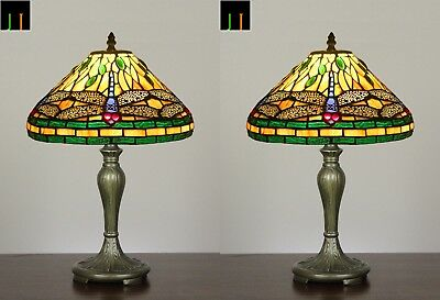 Winter Clearance Set of 2 Tiffany Dragonfly Stained Glass Art Deco Table Lamp