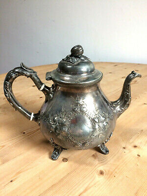 Unusual & Ornate Antique Sheffield Silver Electro Plate Teapot with Acorn Lid