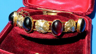 Antique Georgian SOLID 15ct GOLD 16 CARATS CABOCHON GARNET Cuff Bangle 19GRAMS!!