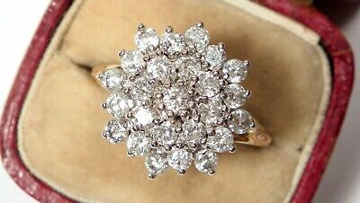 Stunning Antique Art Deco 1.50ct Diamond Daisy 18ct Gold Ring